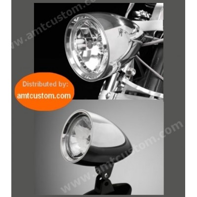 Phare avant Chrome moto custom et Harley