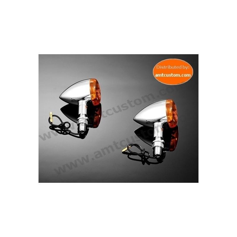 2 Clignotants Obus Chrome 12V motos Customs, Harley Davidson, Choppers, Bobbers, Trikes, ..