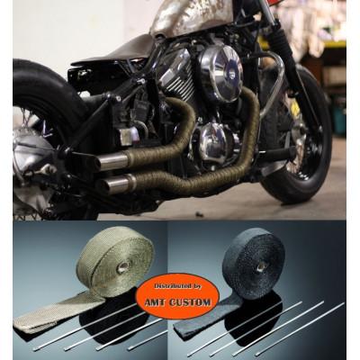 15m Kit bande thermique échappement Noir et Titanium
