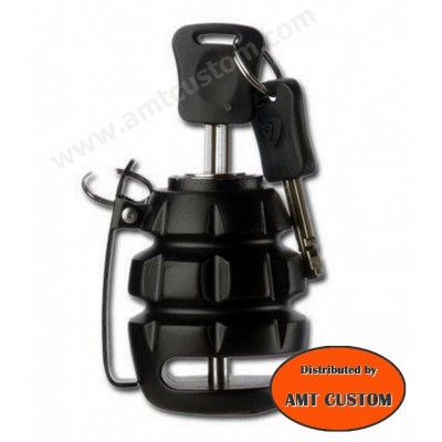 Grenade noire antivol bloc disque moto custom, Harley, Choppers