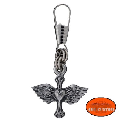 Winged cross lady Rider Zipper Pull Jacket moto custom harley