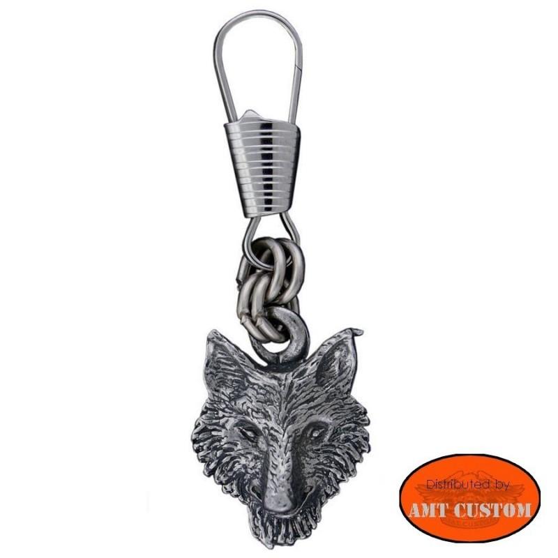 Tirette Zip tête de loup pour veste harley et gilet cuir.