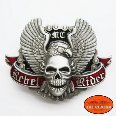 Boucle Bikers Skull Rebel Rider Eagle Wings tête de mort harley pour ceinture universelle