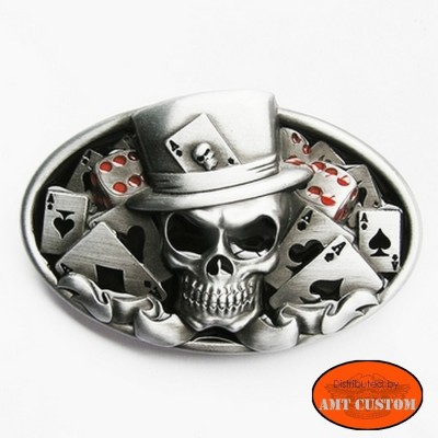 Belt buckle Bikers Skull Joker custom harley trike
