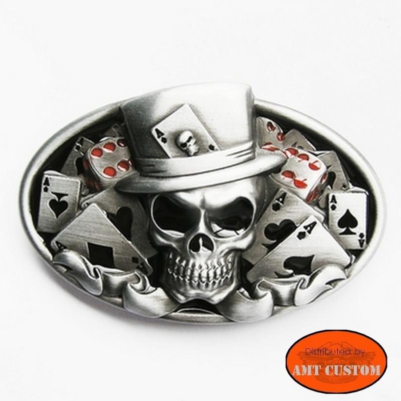 Boucle Bikers Skull Joker tête de mort custom harley trike ceinture universelle harley