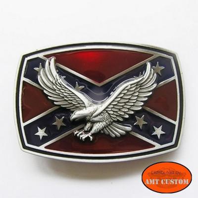 Boucle Bikers drapeau Rebel Aigle confédéré pour lanière universelle harley