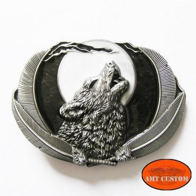 Boucle de Ceinture Loup & plumes Indien Biker country pour lanière universelle harley custom