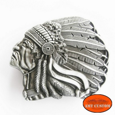 Boucle Country Tête Indien pour ceinture universelle harley trike