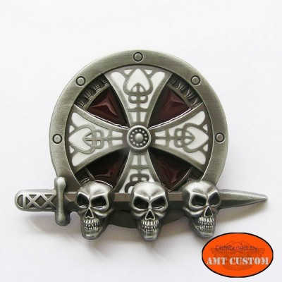 Boucle Celtic Tête de Mort pour ceinture universelle en cuir pas chère harley