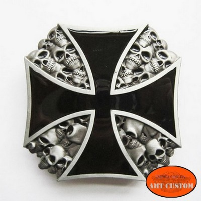 Skulls Maltese Cross belt buckle custom harley trike