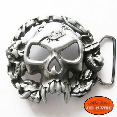 Skull 666 belt biker buckle custom harley trike