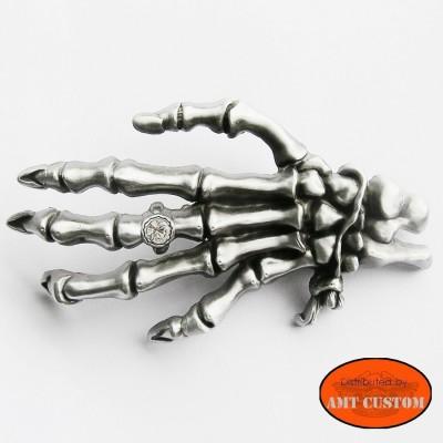 Rhinestone Skull Finger Hand Belt Buckle custom harley trike
