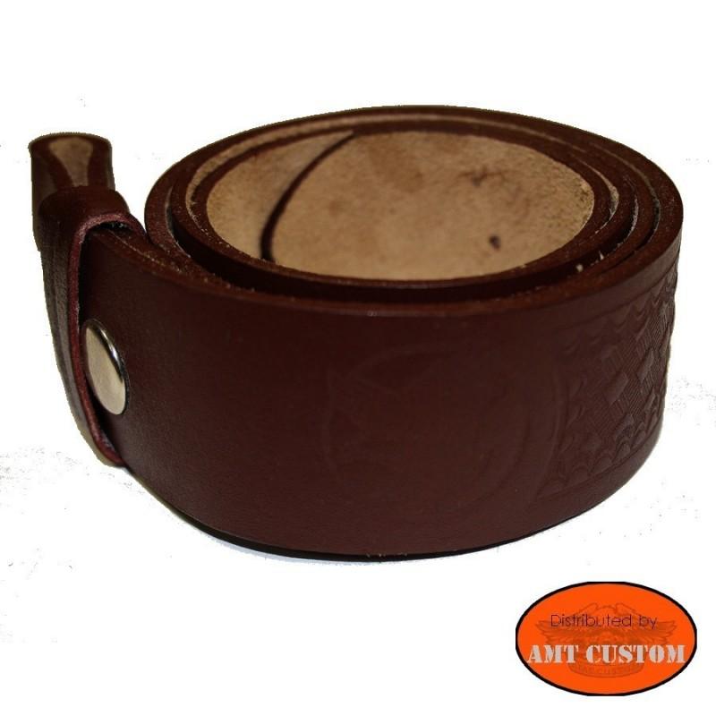 Brown Eagle leather belt for universal belt buckle custom harley trike