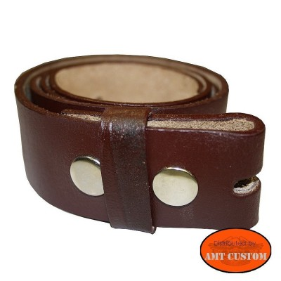 Brown leather belt for universal belt buckle custom harley trike