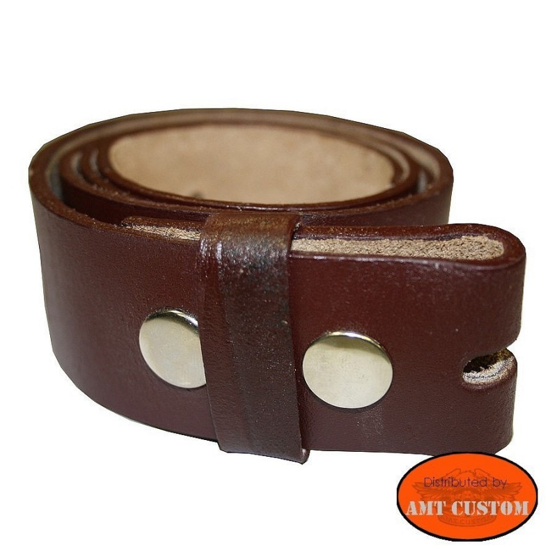 Brown leather belt for universal belt buckle custom harley trike