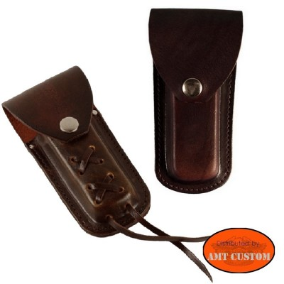 Brown leather Pocket knife case for belt biker custom