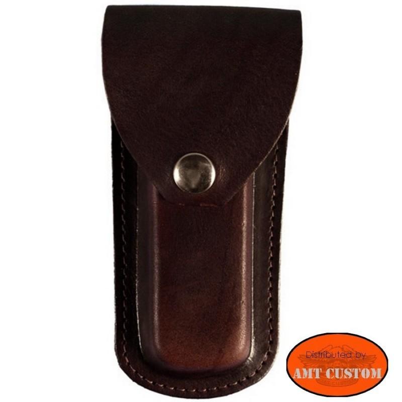 Brown plain Pocket knife case for belt harley
