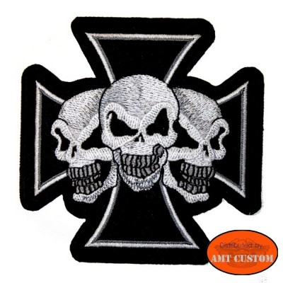 Ecusson Patch Croix de Malte trio skull biker custom