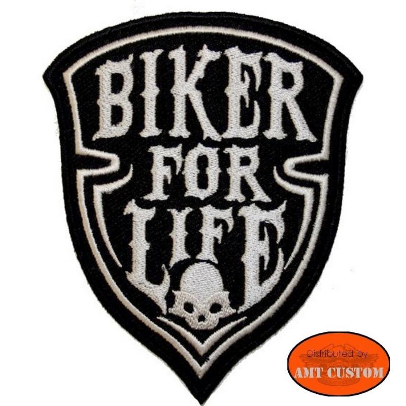 Ecusson Patch Biker for life skull pour veste et blouson moto custom harley et trike
