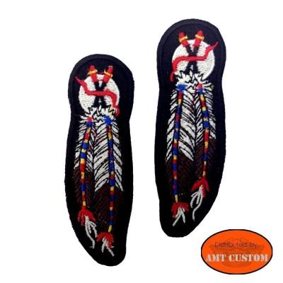 2 patchs Plume indien ecusson thermocollant pour veste et blouson moto custom harley et trike