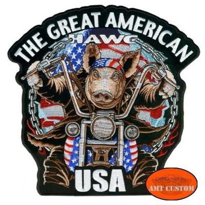 Patch écusson Biker Cochon moto custom pour blouson harley et veste en cuir moto