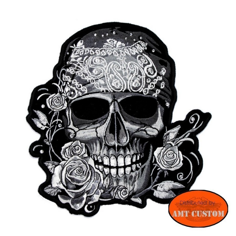 Patch écusson lady rider Skull pirate strass gilet blouson