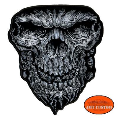 Patch écusson Black skull endiablé Biker custom
