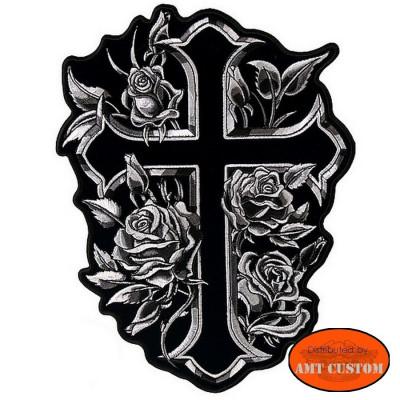 Patch écusson Lady rider croix et roses