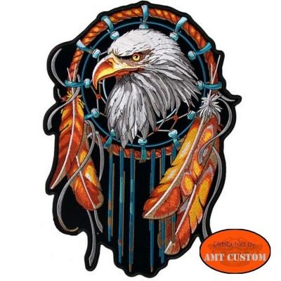Patch écusson Biker Aigle Attrape-rêves moto custom pour veste et gilet cuir