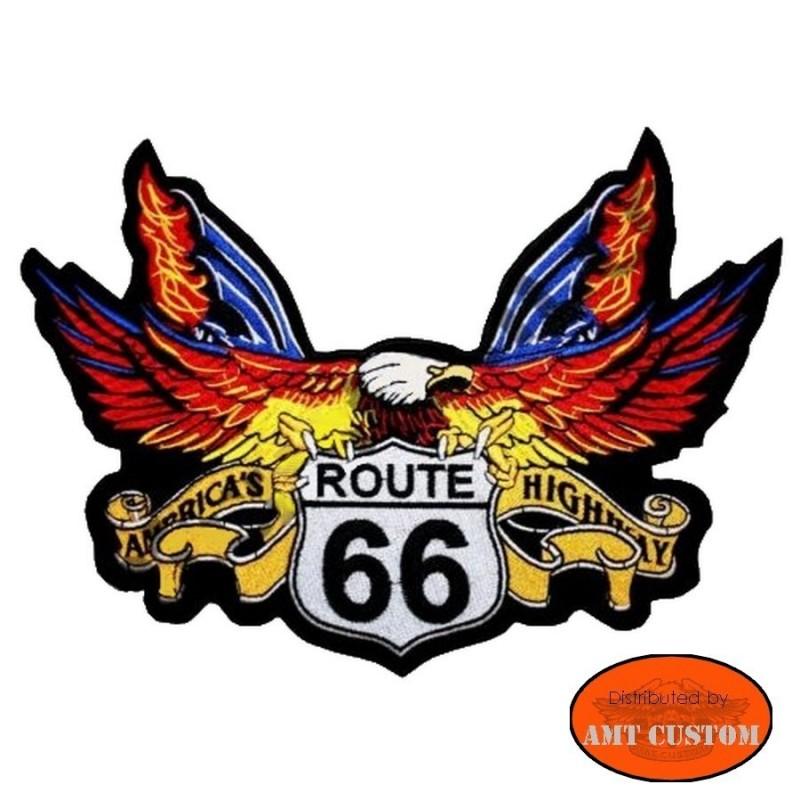 Patch écusson Aigle route 66 pour veste et blouson moto custom harley et trike