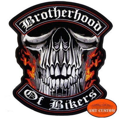 Patch écusson Biker Tête de Mort Brotherhood pour blouson et gilet veste en cuir harley