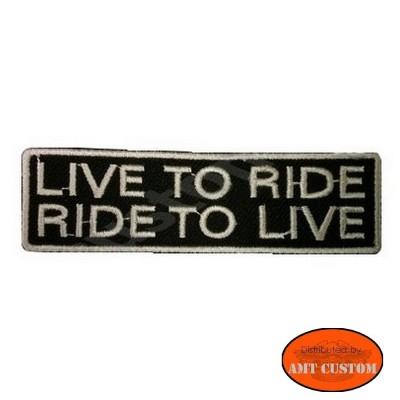 """Patch écusson Biker """"Live to ride - Ride to live"""" pour veste et blouson moto custom harley et trike"""