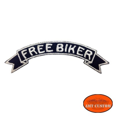 """Free biker""  white biker Patch jackets, vest, tee-shirt  harley custom chopper trike"