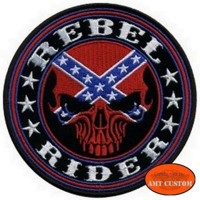 "Patch écusson Biker Skull ""Rebel Rider"" pour veste et blouson moto custom harley et trike"