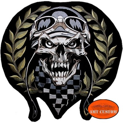 Skull Racing Patch Biker jacket vest harley custom chopper trike