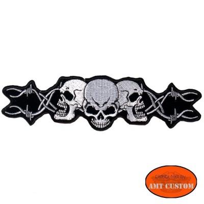 Patch écusson Biker Skull barbelé pour veste et blouson moto custom harley et trike