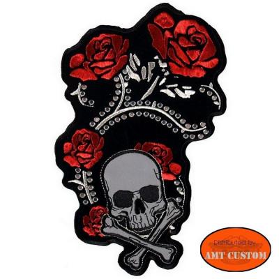 Patch écusson Rose tête de mort rétro-réfléchissante et strass Lady Rider femme Biker custom