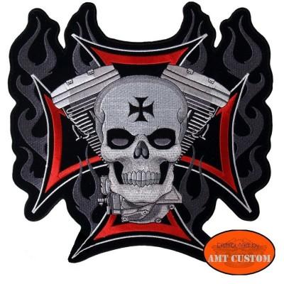 Patch écusson Biker Croix de Malte Skull V-Twin pour veste et blouson moto custom harley et trike