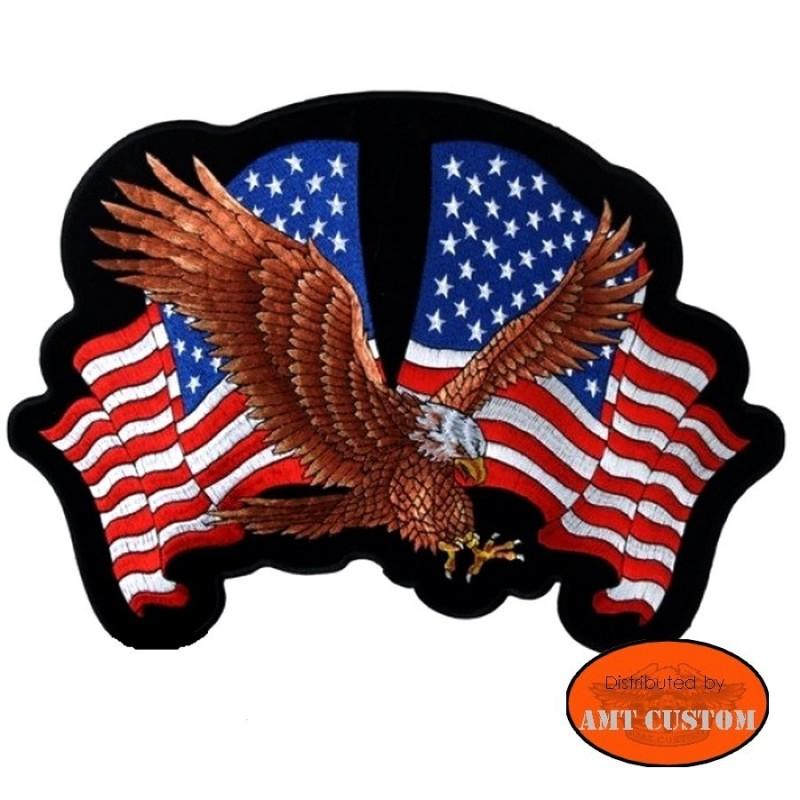 Ecusson Patch Aigle et drapeaux US américain moto custom harley pour veste harley