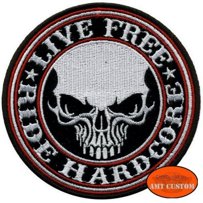 """Patch écusson Biker Skull """"Live Free"""" pour veste et blouson moto custom harley et trike"""