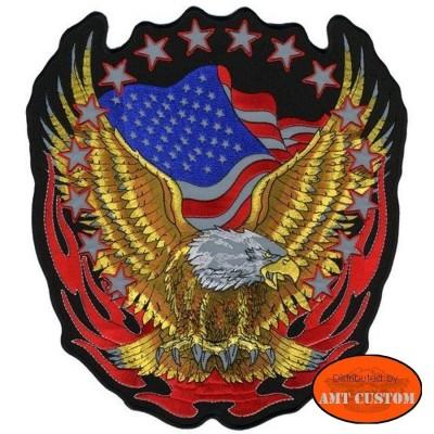 Patch Rétro-réflechissant Aigle drapeau USA moto pour veste et blouson harley