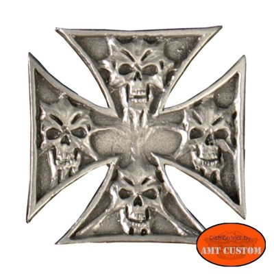Badge Iron Cross Skull Pin biker custom kustom for vest jackets harley trike