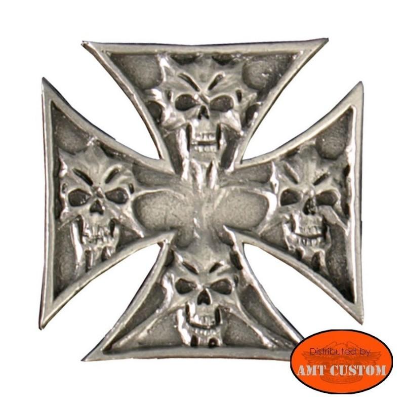 Badge Iron Cross Skull Pin biker custom kustom for vest jackets harley trike