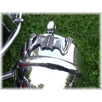 Ornement Phare squelette Chrome - moto Custom
