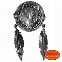 Pin's Loup, Plumes Indien pour veste et blouson moto sacoche custom harley et trike