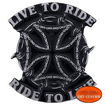 """Pin's épinglette Croix de Malte """"Live To Ride"""" pour veste et blouson moto sacoche custom harley et trike"""