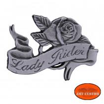 Pin's Rose Lady Rider pour veste et blouson moto custom harley et trike