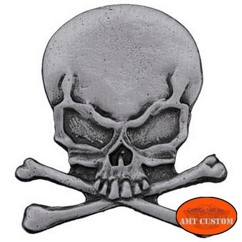 Pin's Biker Skull tête de mort pour veste et blouson moto sacoche custom harley et trike