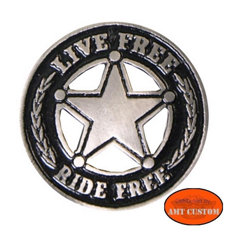 Pin's Biker Star Live Free Ride Free pour veste et blouson moto sacoche custom harley et trike