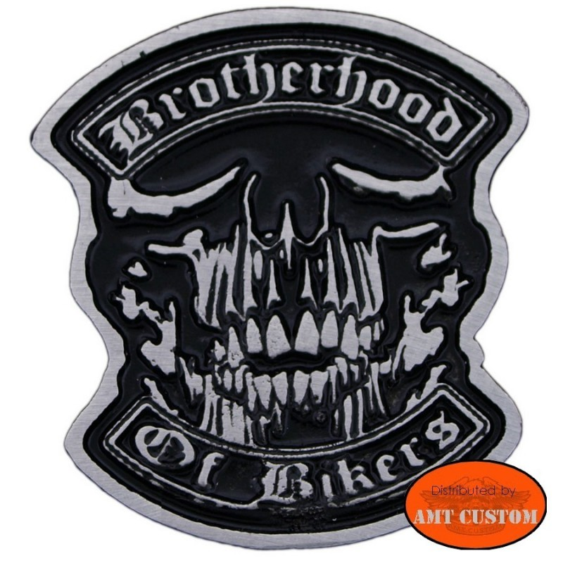 Pin's Biker skull Brotherhood pour veste et blouson moto sacoche custom harley et trike